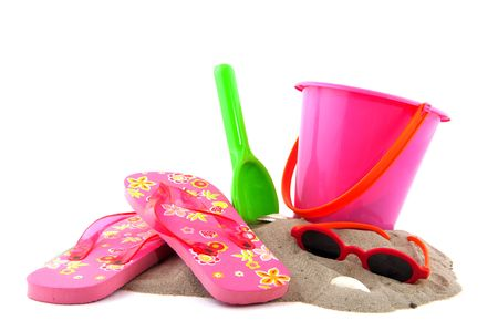 summertime at the beach with leisure objects photo
