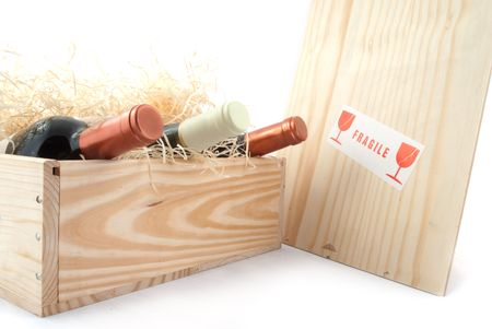 bottles wine in a wooden crate as surprise