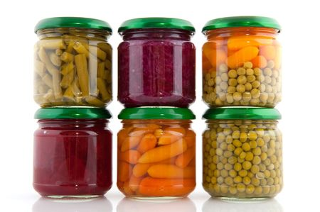 canned food: Preserved vegetables in glass