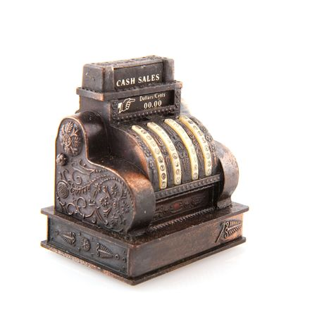 maquina registradora: antigua caja de cobre aislado en blanco