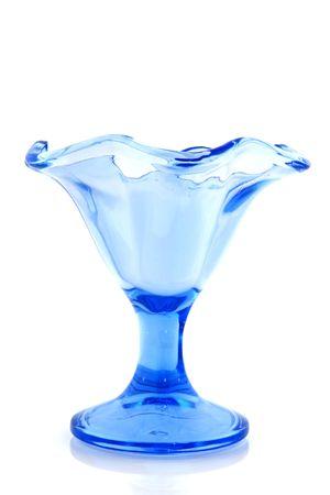 アイスクリーム、シャーベットとして青いガラス 写真素材