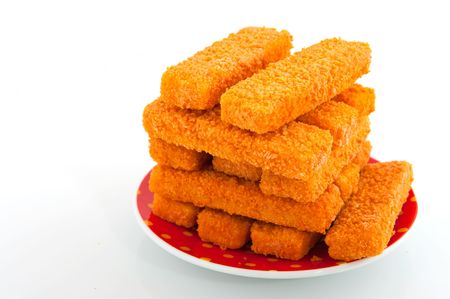 fish sticks isolated over white photo