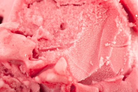 strawberry of forest fruit ice cream close