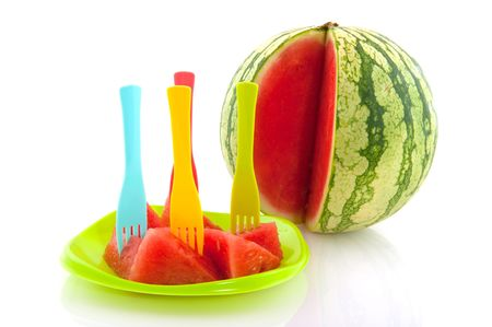 Whole melon with prepared melon on a plate Stock Photo - 5267360