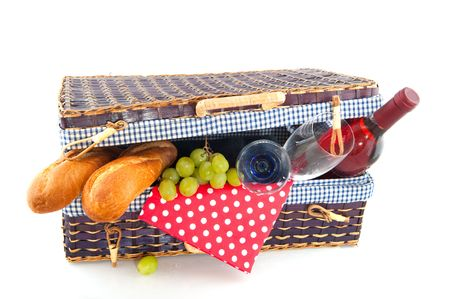 Good filled blue picnic basket for eating outdoor