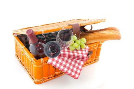 Good filled picnic basket for eating outdoor photo