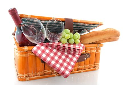 fruits basket: Good filled picnic basket for eating outdoor