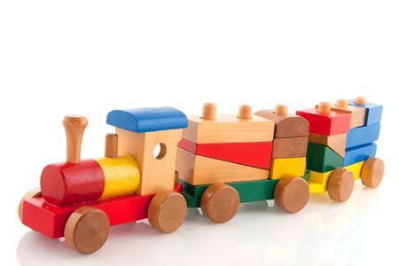 wooden blocks: Old wooden train