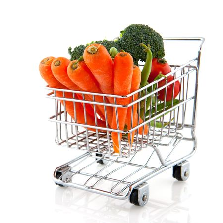 shopping car filled with fresh daily vegetables Stock Photo - 5267341