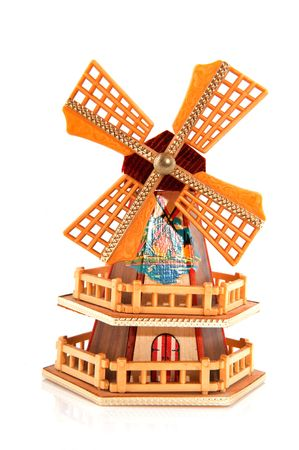 Miniature Dutch windmill as a souvenir over white Stock Photo - 5311386