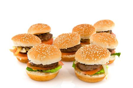 american food: Many hamburgers with bread isolated over white Stock Photo
