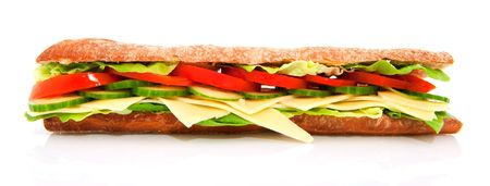 healthy long cheese sandwich with vegetables isolated over white photo
