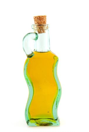 closed corks: Glass bottle with olive oil isolated over white Stock Photo