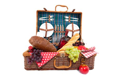 Good filled picnic basket for eating outdoor Stock Photo - 5311549