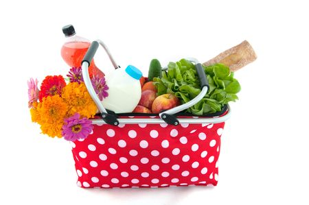 shopping bag with daily products from the grocery