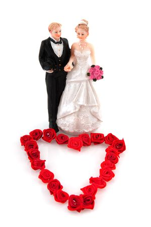 marriage from a white couple with heart red roses photo