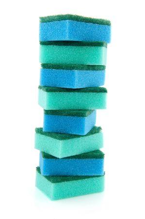 ソート: 使用する一種のスポンジのクリーニング 写真素材