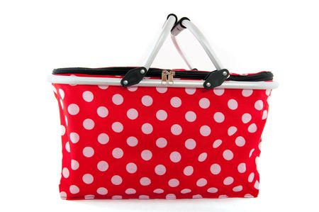 speckles: red and white speckles dotted shopping bag Stock Photo