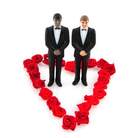 boda gay: Boda gay con un par en el coraz�n de flor roja Foto de archivo