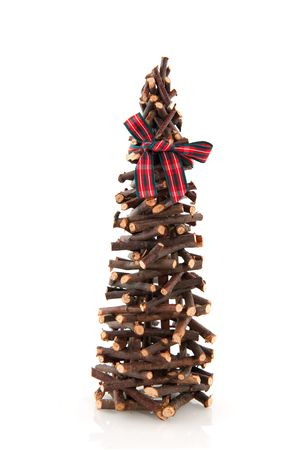 unpretentious: simple christmas tree from little wooden twigs Stock Photo