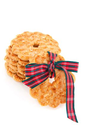 christmas wreaths: stacked Christmas wreaths from cookie isolated over white Stock Photo