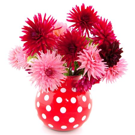 Cheerful bouquet in vase with red and pink Dahlias photo