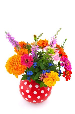 speckles: Cheerful summer bouquet flowers in speckles vase