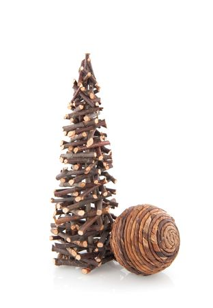 unpretentious: simple christmas tree and ball from little wooden twigs