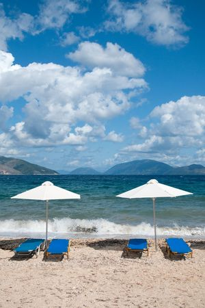 ionian: Beach at the Greek ionian island Kefalonia with parasols