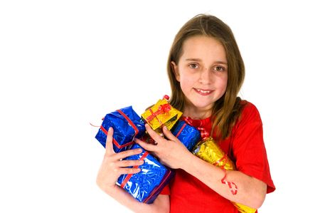 Happy girl with many luxury wrapped presents  photo