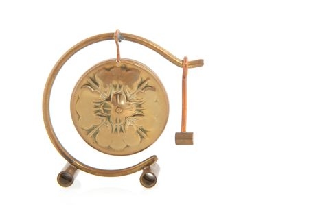 Gong: Chinese copper gong with hammer isolated over white Stock Photo