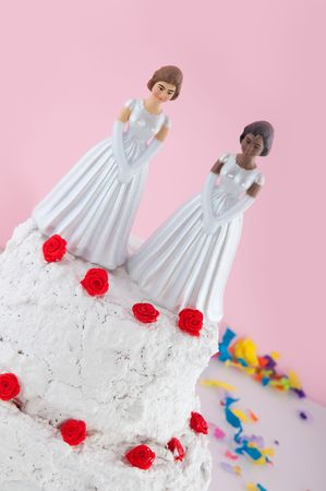 Lesbian wedding couple on top of the cake Stock Photo - 5659789