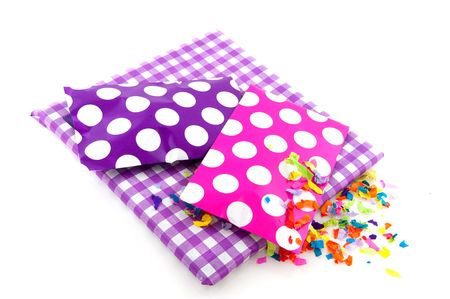 speckles: Presents for a birthday in purple with speckles and checkered