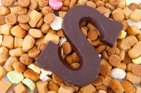 pepernoten: Traditional Sinterklaas candy as pepernoten chocolate letter and more Stock Photo