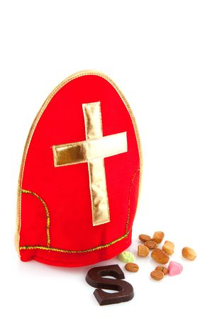 Mitre with cross from Sinterklaas with traditional candy Stock Photo - 5659849