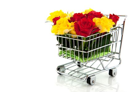 shopping cart with red and yellow roses Stock Photo - 5659895