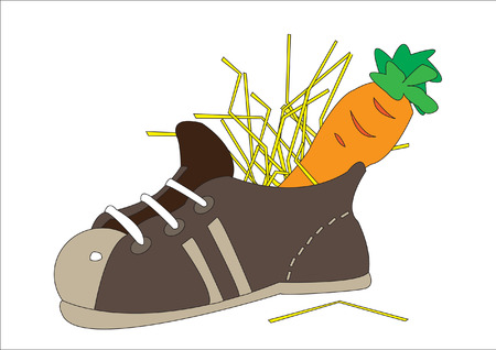 sinterklaas: Child shoe with carrot for the horse of Sinterklaas Illustration