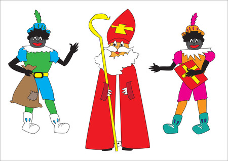 sinterklaas: Sinterklaas and Black Piets as Dutch culture Illustration