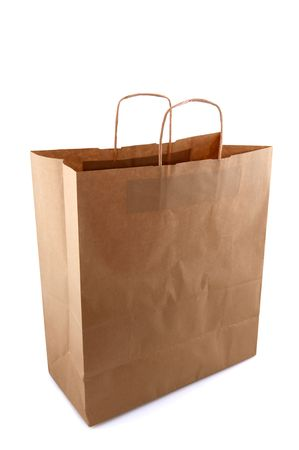 kraft: Empty brown paper bag isolated over white