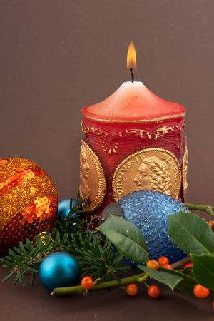 christmas candle and decoration with brown background Stock Photo - 5698090