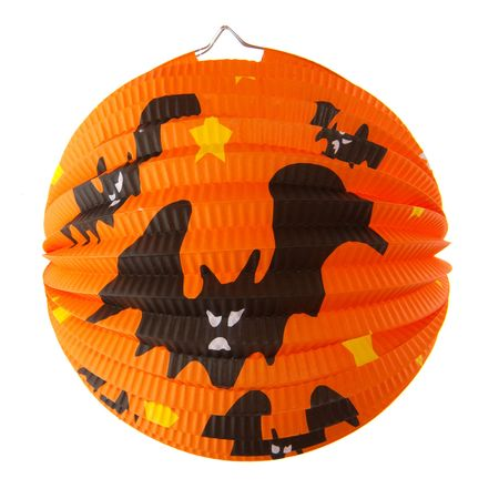 grisly: Orange Halloween lantern with bats isolated over white