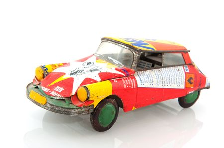 African toy car made from rubbish isolated over white photo