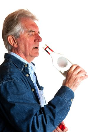 Problem with drinking alcohol by elderly man Stock Photo - 5740254