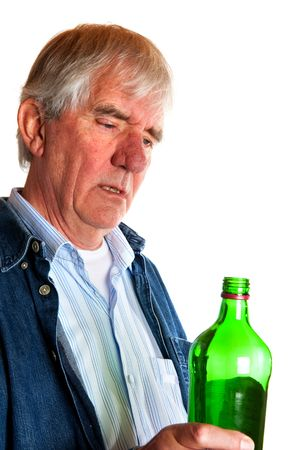 Problem with drinking alcohol by elderly man Stock Photo - 5740558