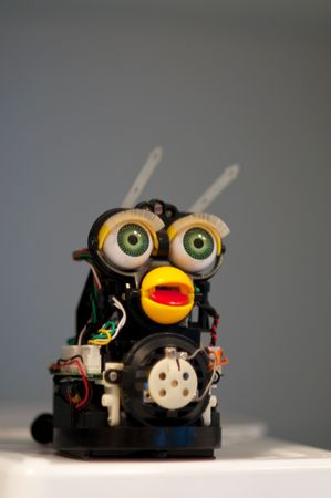 automatically: Handmade funny robot with eyes and mouth