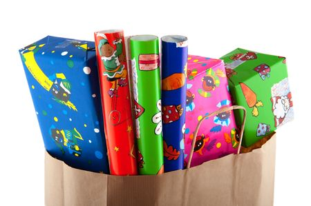 Shopping for Sinterklaas with presents and wrapping paper rolls photo