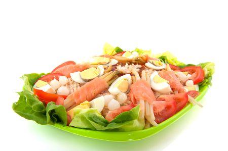 salmon salad with asparagus and eggs photo
