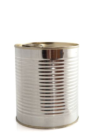 canned: Silver tin can isolated over white background