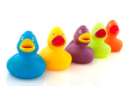 rubber ducky: colorful ducks in a row Stock Photo