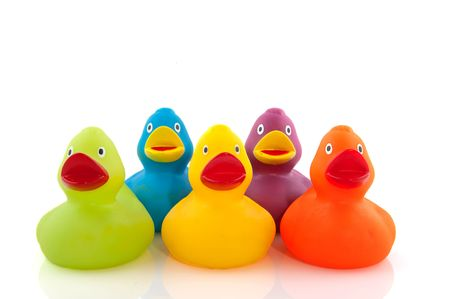 plastic toys: colorful ducks in a row Stock Photo